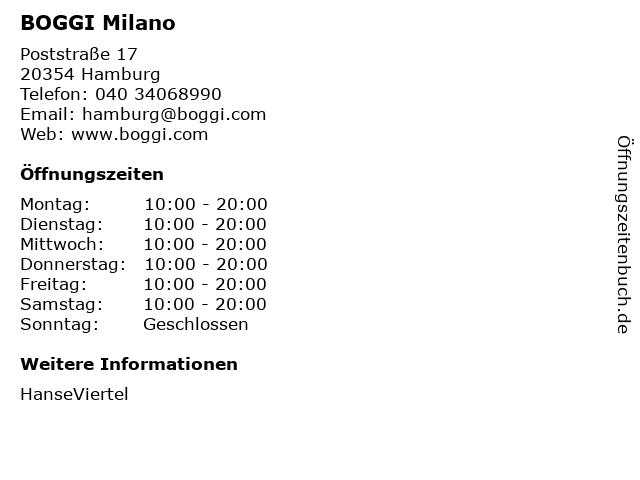 BOGGI Milano in Hamburg: Adresse und Öffnungszeiten
