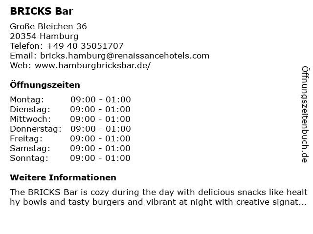 BRICKS tea lounge bar (Renaissance Hamburg Hotel) in Hamburg: Adresse und Öffnungszeiten