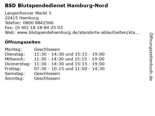 BSD Blutspendedienst Hamburg-Nord in Hamburg: Adresse und Öffnungszeiten