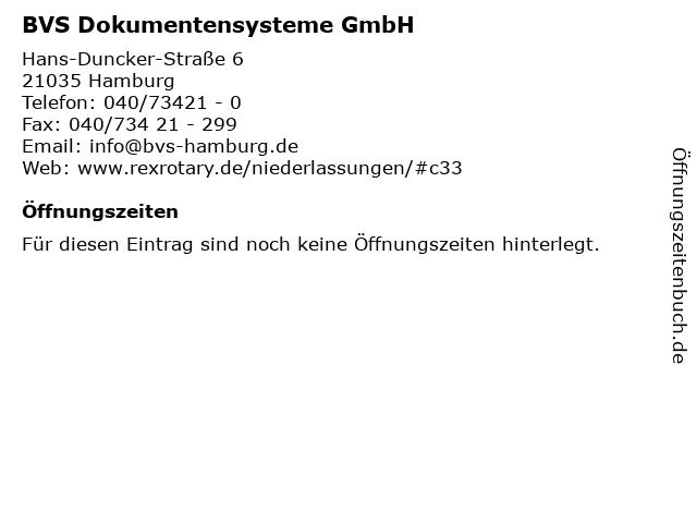 BVS Dokumentensysteme GmbH in Hamburg: Adresse und Öffnungszeiten