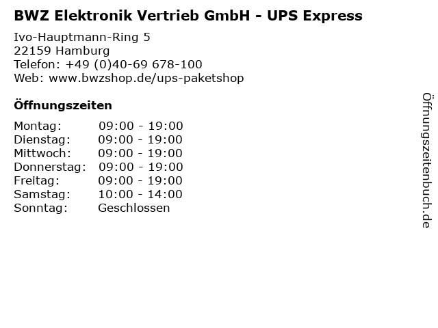 BWZ Elektronik Vertrieb GmbH - UPS Express in Hamburg: Adresse und Öffnungszeiten
