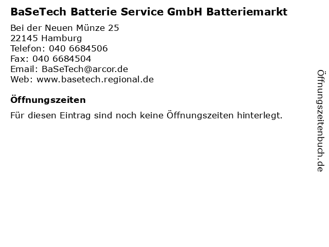 ᐅ öffnungszeiten Basetech Batterie Service Gmbh Batteriemarkt