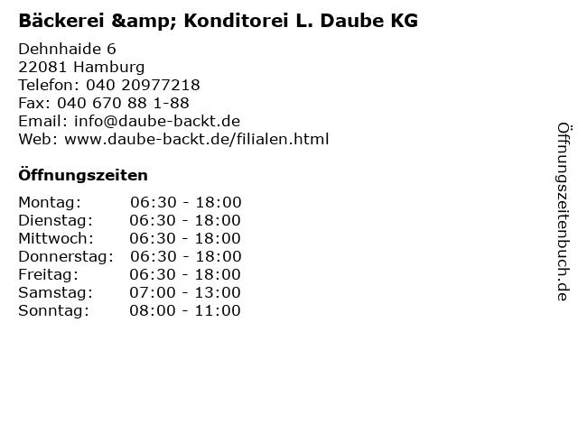 Bäckerei & Konditorei L. Daube KG in Hamburg: Adresse und Öffnungszeiten