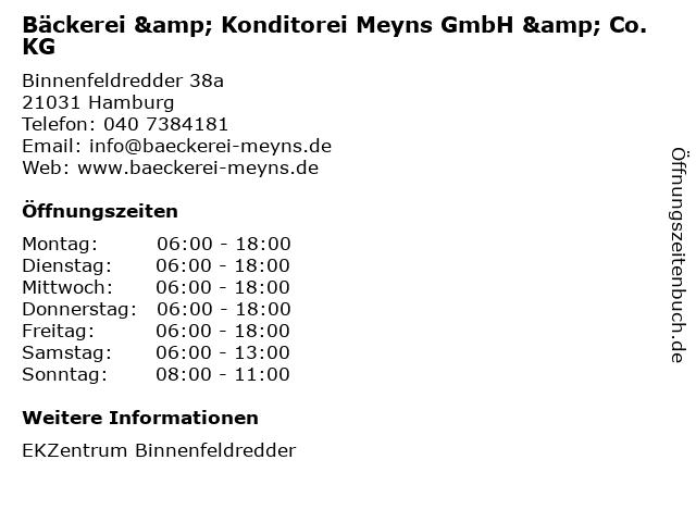 Bäckerei & Konditorei Meyns GmbH & Co. KG in Hamburg: Adresse und Öffnungszeiten