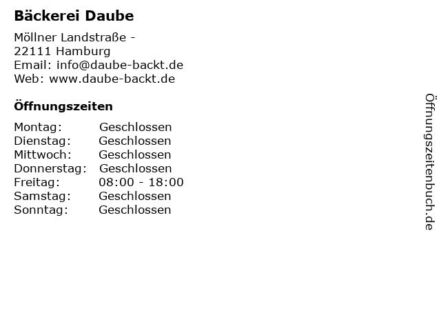 Bäckerei Daube in Hamburg: Adresse und Öffnungszeiten