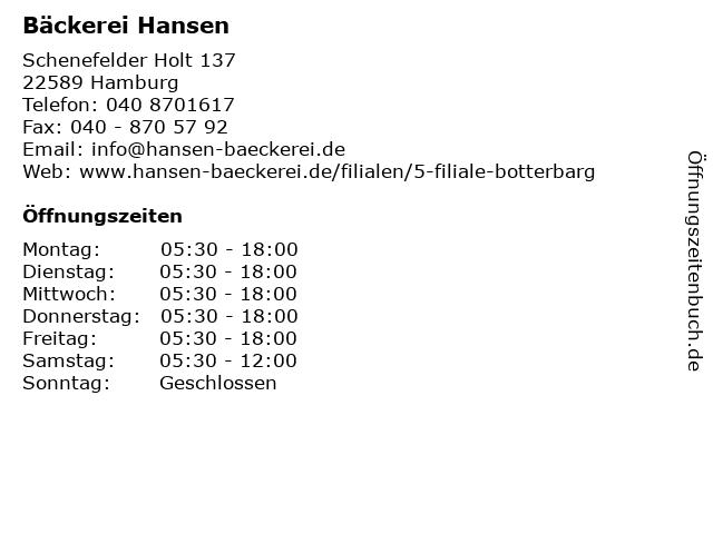 Bäckerei Hansen in Hamburg: Adresse und Öffnungszeiten