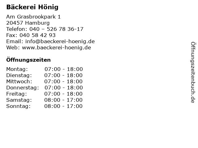 Bäckerei Hönig in Hamburg: Adresse und Öffnungszeiten