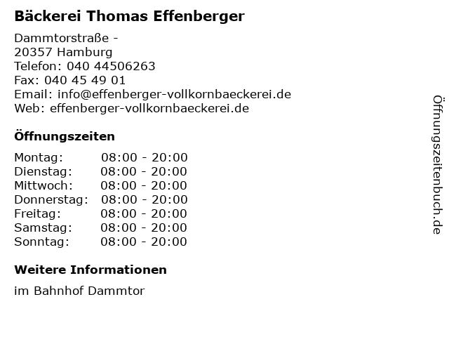 Bäckerei Thomas Effenberger in Hamburg: Adresse und Öffnungszeiten