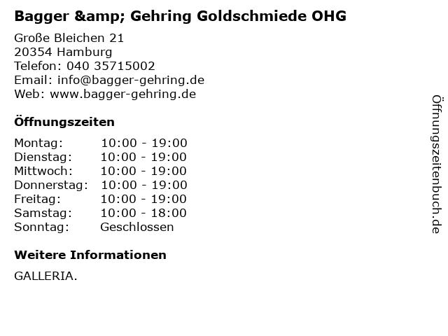 Bagger & Gehring Goldschmiede OHG in Hamburg: Adresse und Öffnungszeiten