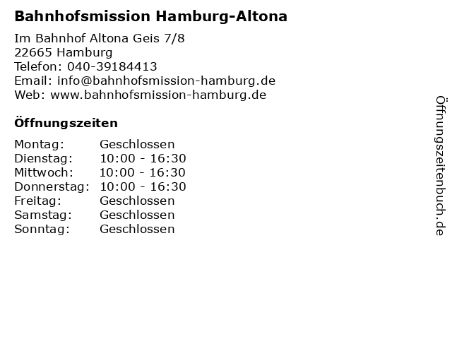 Bahnhofsmission Hamburg-Altona in Hamburg: Adresse und Öffnungszeiten