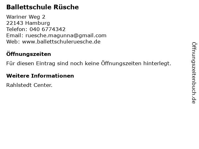 Ballettschule Rüsche in Hamburg: Adresse und Öffnungszeiten