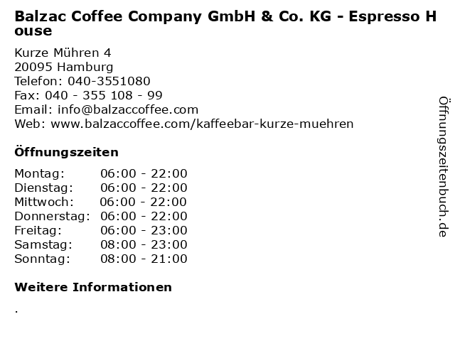 Balzac Coffee Company GmbH & Co. KG - Espresso House in Hamburg: Adresse und Öffnungszeiten