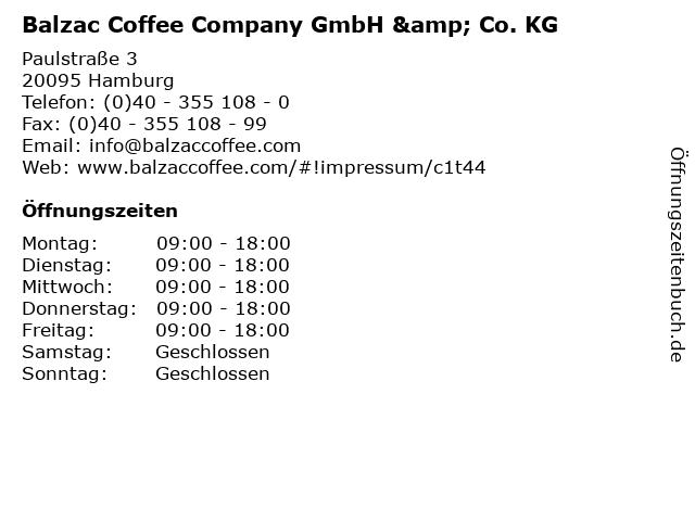 Balzac Coffee Company GmbH & Co. KG in Hamburg: Adresse und Öffnungszeiten