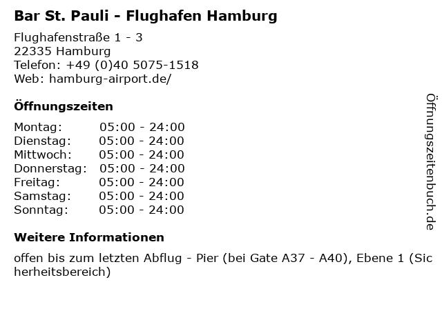Bar St. Pauli - Flughafen Hamburg in Hamburg: Adresse und Öffnungszeiten