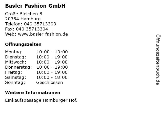 Basler Fashion GmbH in Hamburg: Adresse und Öffnungszeiten
