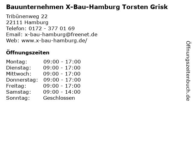 Bauunternehmen X-Bau-Hamburg Torsten Grisk in Hamburg: Adresse und Öffnungszeiten