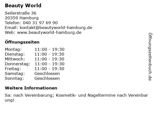 Beauty World in Hamburg: Adresse und Öffnungszeiten