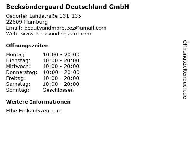Becksöndergaard Deutschland GmbH in Hamburg: Adresse und Öffnungszeiten
