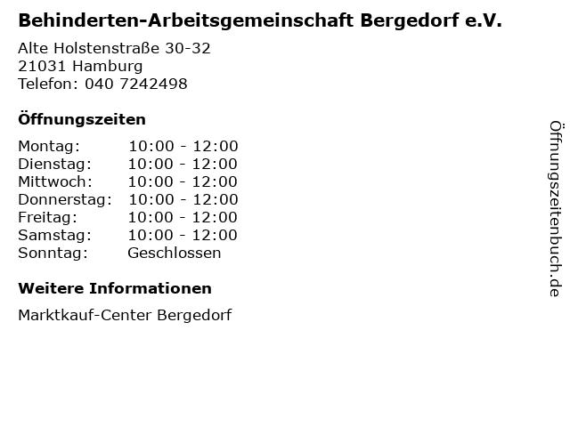 Behinderten-Arbeitsgemeinschaft Bergedorf e.V. in Hamburg: Adresse und Öffnungszeiten