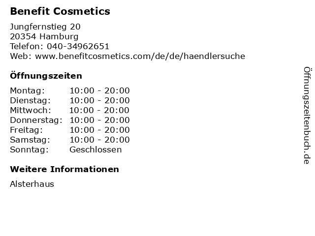 Benefit Cosmetics in Hamburg: Adresse und Öffnungszeiten