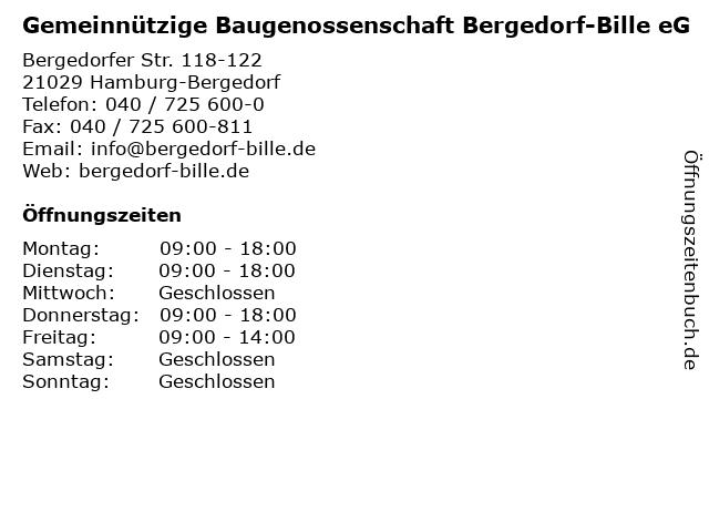 ᐅ öffnungszeiten Gemeinnützige Baugenossenschaft Bergedorf