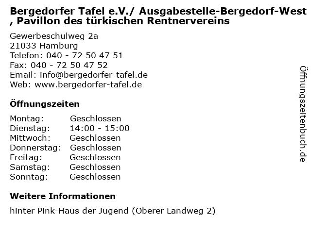 Bergedorfer Tafel e.V./ Ausgabestelle-Bergedorf-West, Pavillon des türkischen Rentnervereins in Hamburg: Adresse und Öffnungszeiten