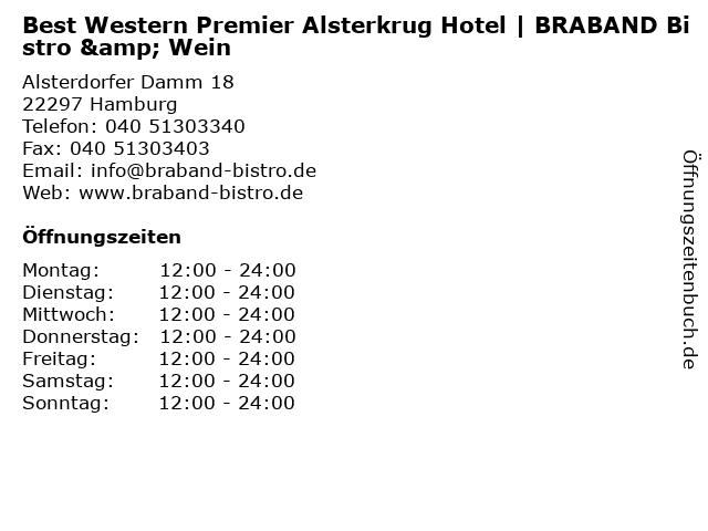 ᐅ Offnungszeiten Best Western Premier Alsterkrug Hotel Braband