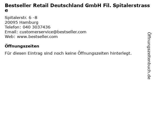 Bestseller Retail Deutschland GmbH Fil. Spitalerstrasse in Hamburg: Adresse und Öffnungszeiten