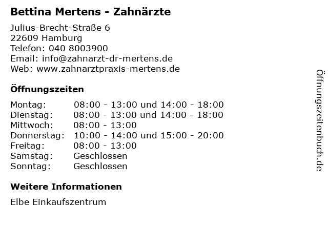 Bettina Mertens - Zahnärzte in Hamburg: Adresse und Öffnungszeiten