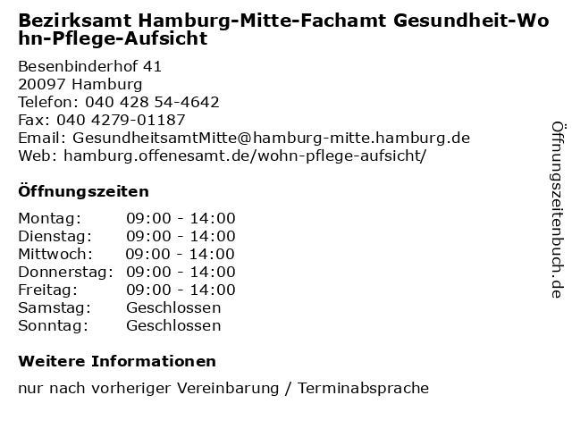 Bezirksamt Hamburg-Mitte-Fachamt Gesundheit-Wohn-Pflege-Aufsicht in Hamburg: Adresse und Öffnungszeiten