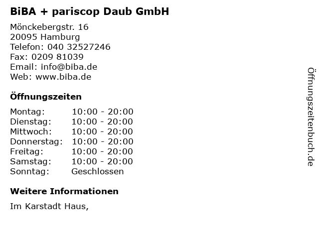 BiBA + pariscop Daub GmbH in Hamburg: Adresse und Öffnungszeiten