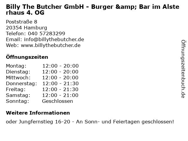 Billy The Butcher GmbH - Burger & Bar im Alsterhaus 4. OG in Hamburg: Adresse und Öffnungszeiten