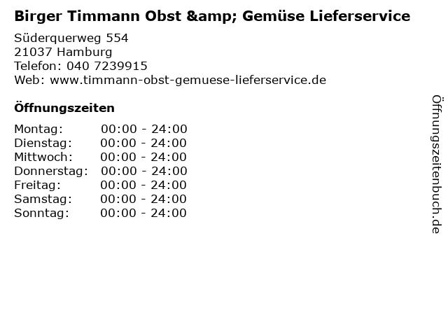 Birger Timmann Obst & Gemüse Lieferservice in Hamburg: Adresse und Öffnungszeiten