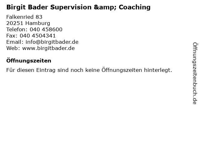 Birgit Bader Supervision & Coaching in Hamburg: Adresse und Öffnungszeiten