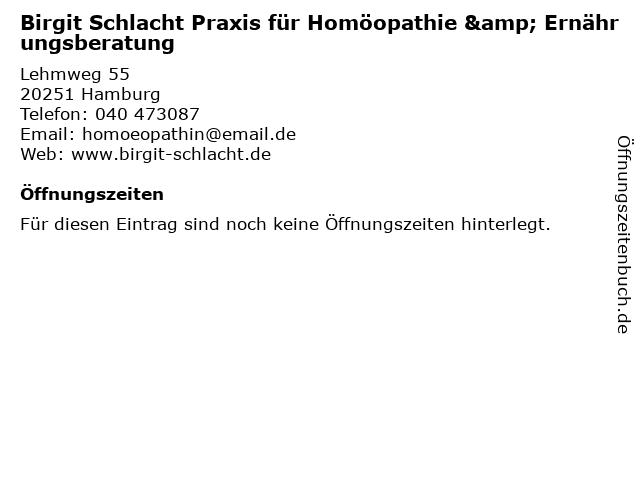 Birgit Schlacht Praxis für Homöopathie & Ernährungsberatung in Hamburg: Adresse und Öffnungszeiten