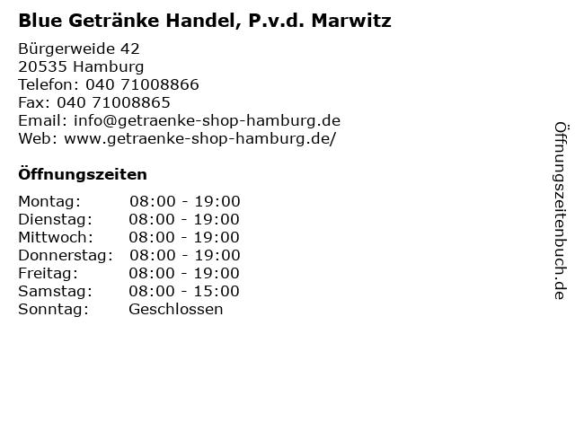 Blue Getränke Handel, P.v.d. Marwitz in Hamburg: Adresse und Öffnungszeiten