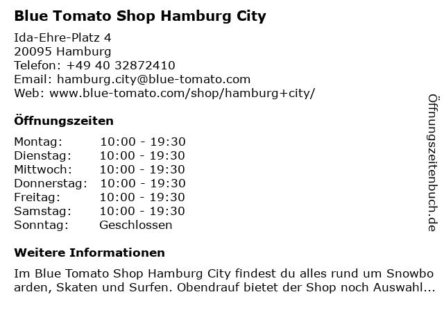 Blue Tomato Shop Hamburg City in Hamburg: Adresse und Öffnungszeiten