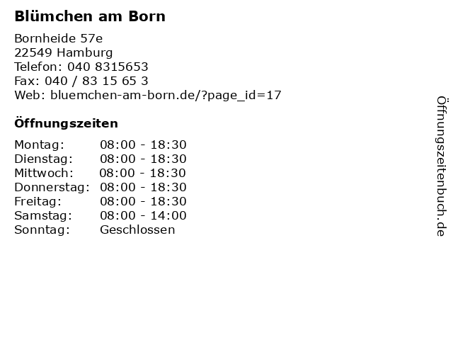 Blümchen am Born in Hamburg: Adresse und Öffnungszeiten