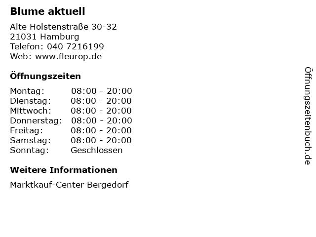 Blume aktuell in Hamburg: Adresse und Öffnungszeiten