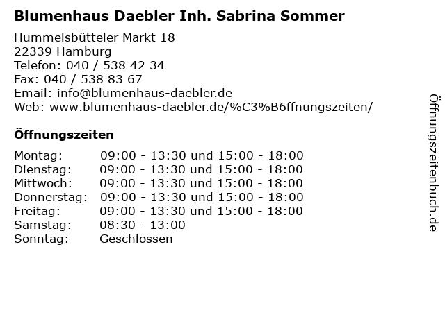 Blumenhaus Daebler Inh. Sabrina Sommer in Hamburg: Adresse und Öffnungszeiten