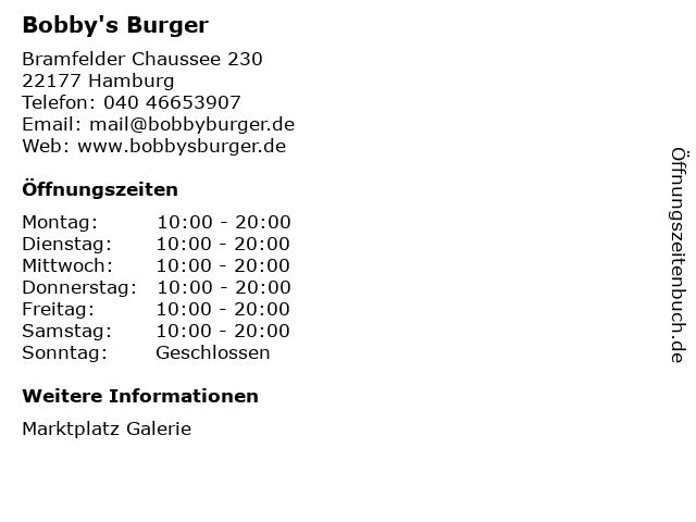 Bobby's Burger in Hamburg: Adresse und Öffnungszeiten