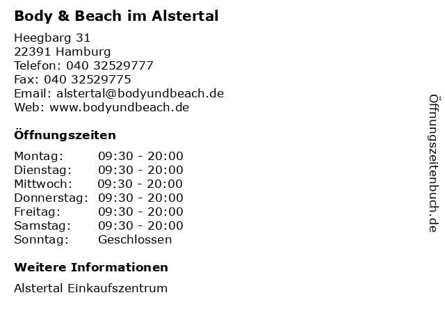 Body & Beach im Alstertal in Hamburg: Adresse und Öffnungszeiten
