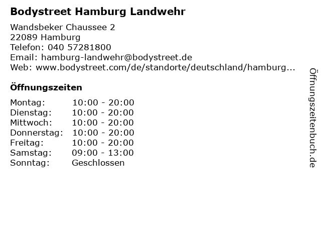 Bodystreet Hamburg Landwehr in Hamburg: Adresse und Öffnungszeiten