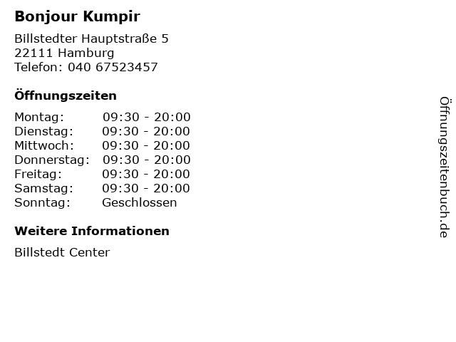 Bonjour Kumpir in Hamburg: Adresse und Öffnungszeiten