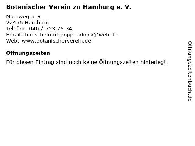 Botanischer Verein zu Hamburg e. V. in Hamburg: Adresse und Öffnungszeiten
