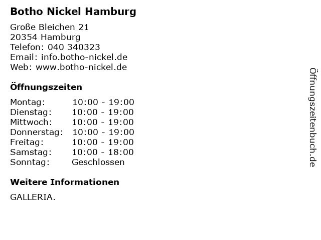 Botho Nickel Hamburg in Hamburg: Adresse und Öffnungszeiten