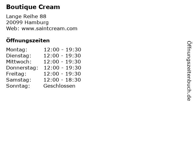 Boutique Cream in Hamburg: Adresse und Öffnungszeiten