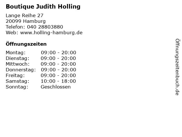Boutique Judith Holling in Hamburg: Adresse und Öffnungszeiten