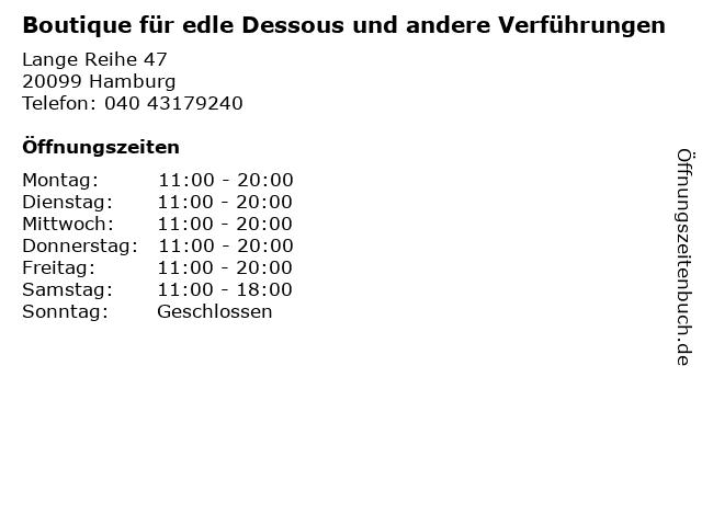 Boutique für edle Dessous und andere Verführungen in Hamburg: Adresse und Öffnungszeiten