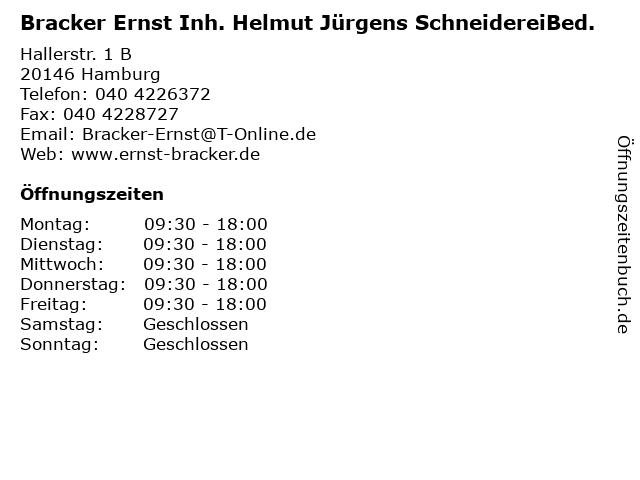 Bracker Ernst Inh. Helmut Jürgens SchneidereiBed. in Hamburg: Adresse und Öffnungszeiten